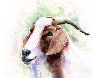 GOAT ART PRINT - goat watercolor, goat decor, goat gift, goat wall art, goat lover, goat spirit, goat print, goat artwork, farm animal art