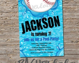 Baseball Pool, Birthday Invitation, Printable, DIY, swim party