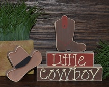 Little Cowboy Nursery Decor Cowboy Baby Shower Decoration Southwestern Decor Cactus Cowboy Hat Cowboy Boots Western Block Set