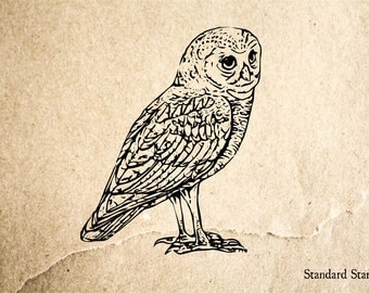 Owl Rubber Stamp - 2 x 2 inches