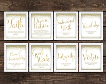 Young Women Values Printables, Faux Glitter Font 8x10 Each, LDS Downloadable Young Women, CHALKBOARD Style Printable