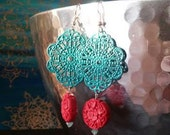 Turquoise Filigree Earrings with Red Bead