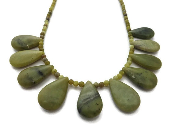 chunky green necklace olive green necklace by