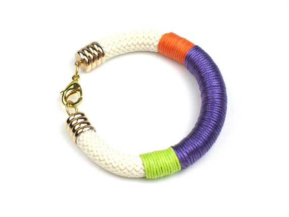 Rope Bracelet in Ivory and Gold with Chunky Climbing Cord Wrapped in Purple, Orange, and Mint Green by elle and belle