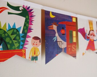Little Golden Book Bunting - Dragon in a wagon