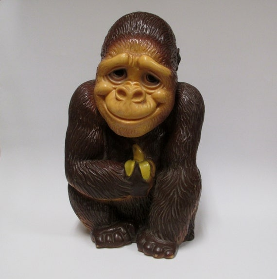 Vintage 1971 Vinyl Products Gorilla Bank Big Monkey Banana