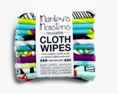 12 Reusable CLOTH WIPES in bold and graphic flannel prints. You choose prints