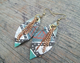 Leather Earrings - Feather Earrings - Ethnic Earrings - Tribal Earrings - Boho Chic Jewelry - Earthy Jewelry