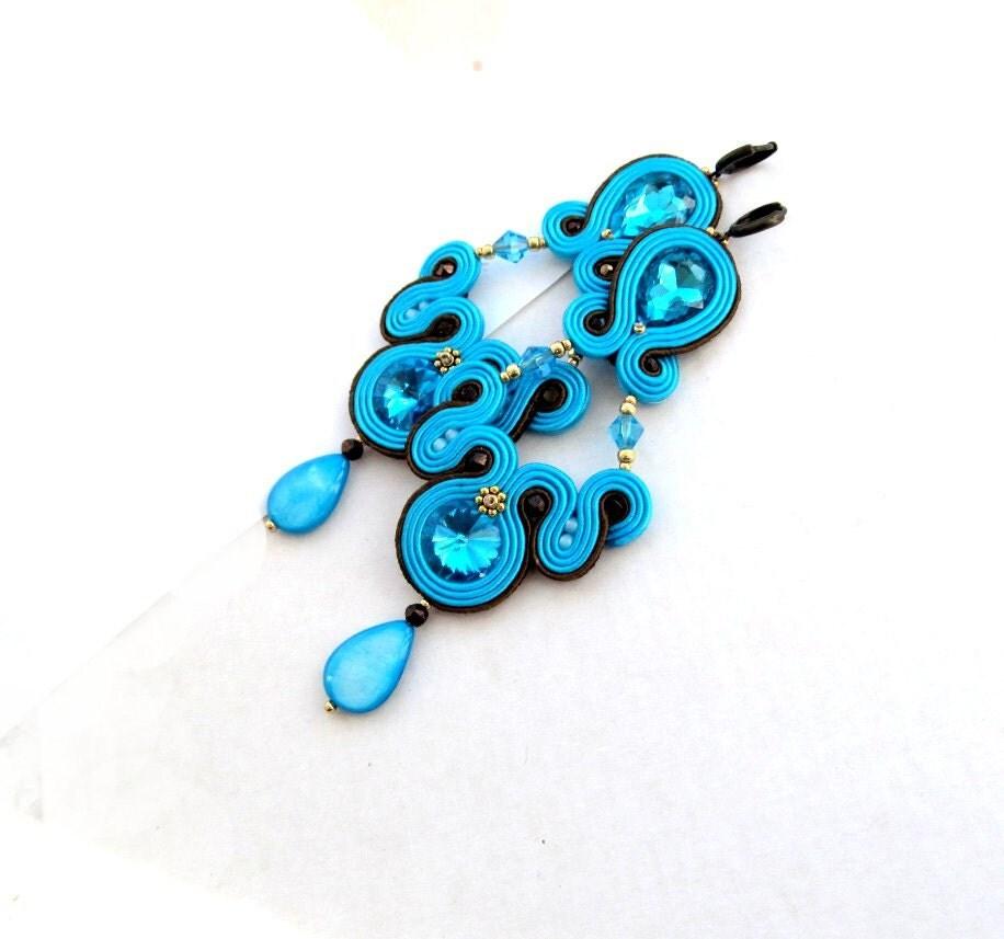 long dangle drop turquoise earrings handmade soutache earrings. Black Bedroom Furniture Sets. Home Design Ideas