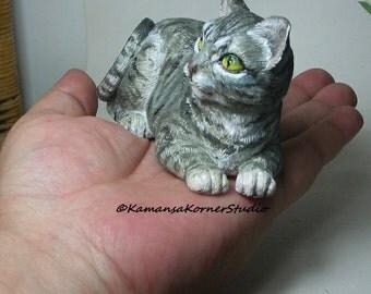 Grey Tabby Cat Kitty Kitten Handpainted resin