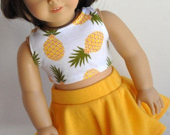 18 Inch Doll Clothes Pineapple Print Crop Top with Yellow Skater Skirt made to fit dolls such as American Girl