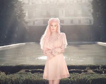Shabby Chic Dress Romantic Art Noveau Vintage Pink Gauze Lace Victorian Belle Epoque Fantasy