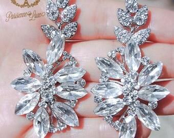 """earrings, bridal earrings, rhinestone earrings, statement, drop earrings, wedding jewelry, bride, bridesmaid, statement earrings, """"GOLDIE"""""""
