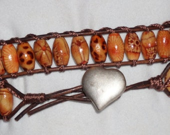 Painted Wood Baad wrap bracelet (MMJ1661)