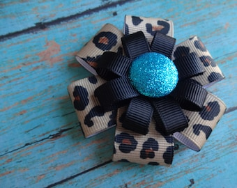 Leopard Hair Bow - Turquoise Glitter Leopard - Leopard Hair Clip - Leopard Hair Accessory - Leopard Print Bow - Turquoise Leopard Hair Bow