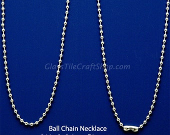 100 Sterling Silver Plated Ball Chain Necklaces, 24 Inch. Perfect for Pendants. (24INSBC)