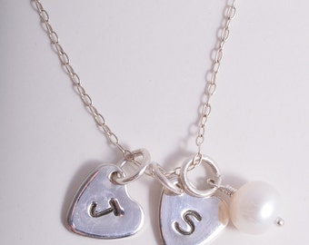 Sterling Silver two personalised hearts and freshwater pearl necklace 925