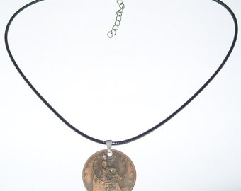 "Black Waxed Cord British 1917 Penny  & Farthing Necklace17"" 43cm With Extension Chain"