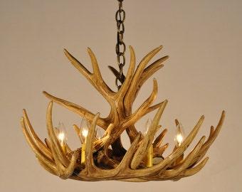 Antler Chandelier, W9C Faux Antlers, Rustic Lighting