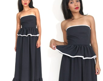 Vintage 80s Black White Strapless Peplum Ruffle Maxi Dress Glam Party Festival