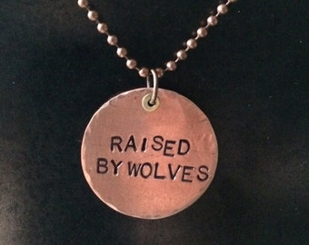 Raised by Wolves stamped copper pendant, gifts under 20, fangirl gift, friendship gift