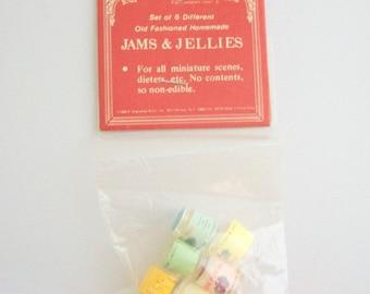 Miniature Jam, Dollhouse Jam, Miniature Jelly, Dollhouse Jelly, Miniature Jellies, Dollhouse Jellies, Miniature Food, Vintage, Set of 6