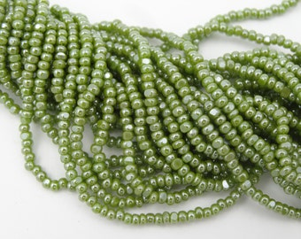Czech Glass 11/0 Charlotte Seed Beads Olive Green Luster  6 Long Strands