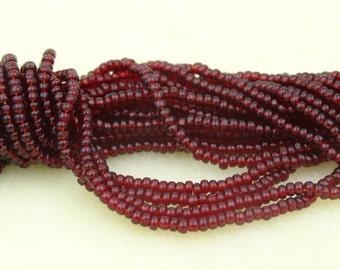 Czech Glass 11/0 Charlotte Seed Beads Ruby 3 Long Strands