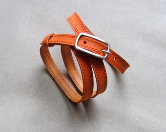 Leather belt for women, Orange leather belt, Narrow belt, ALL SIZES