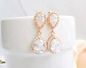 FREE US Shipping Rose Gold Crystal Bridal Earrings Rose Gold Bridal Jewelry Cubic Zirconia And Rose Gold Tear Drop Bridal Earrings