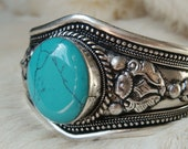 Turquoise bangle Turquoise bracelet White Metal Silver Miao Hill Tribe Native American Navajo Cherokee Tribal Indie Boho Bohemian Gypsy