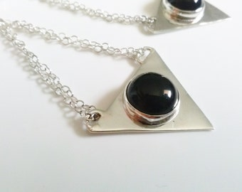 Triangle Black onyx Silver Earrings handmade with sterling silver and geometric design as statement or cocktail and women fashion accessory
