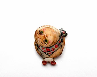 owl brooch pin Owl jewelry Christmas gift Animal brooch clay owl, gifts under 25, Black friday curious owl (0036)