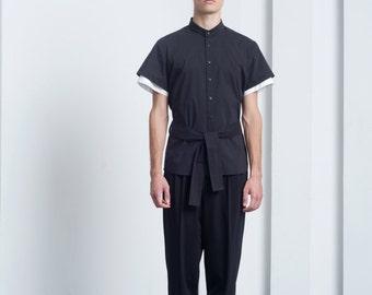 Mens Shirt Black shirt Short Sleeve Button Down Button up Slim