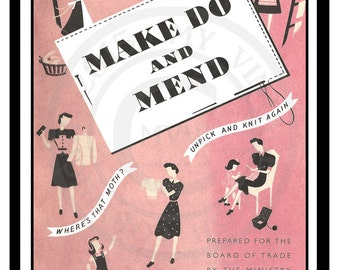 1940's Wartime Make do and Mend Clothing Booklet - PDF  Instant Download