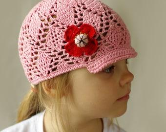 Crochet summer hat for girls, toddler sun hat, kids summer hat, cotton sunhat, girls visor hat, handmade cotton hat for girls, kids lace hat