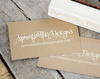 Business Card Stamp, Logo Rubber Stamp, Custom Handwritten Stamp, Shop Name Stamp, Custom Rubber Stamp, Handmade By Stamp, Shop Packaging