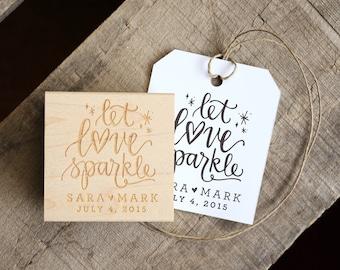 Let Love Sparkle Stamp for Wedding Sparkler Tags. Wedding Favors Tag with Wedding Date. Sparkler Send Off. Matches Favor. Wedding Exit.