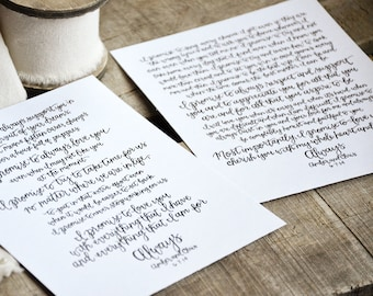 Pair Of Handwritten Wedding Vows Art Custom Personalized Printable Vow Keepsake Unique