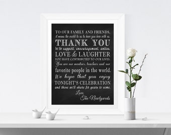 PRINTABLE - Chalkboard Thank You Family Friends Wedding Reception Sign - DIY Digital file 8 x 10 or 5 x 7 Instant Download