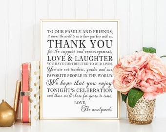 8 x 10 PRINTED Thank You Family Friends Custom Personalized Wedding Reception Sign for Family and Friends from the Newlyweds Mr. & Mrs.