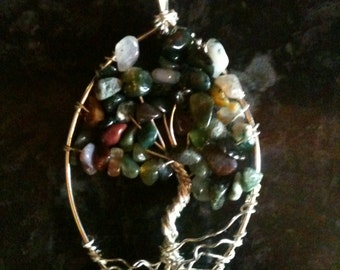 Green Agate Tree of Life Pendant