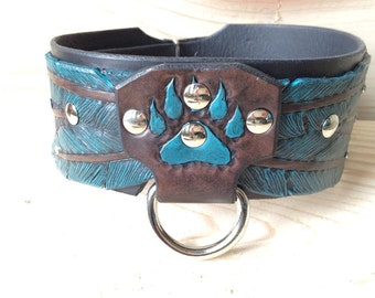 Leather Dog Collar/Hand Tooled/ Feather and Bear Claw