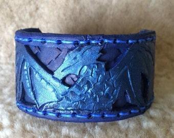 Midnight Ancient Dragon Hand Tooled Bracelet Cuff
