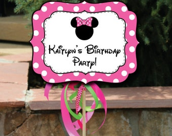 Minnie Mouse Party Signs Editable Text in Pink, Printable Pink Minnie Mouse Party Signs, DIY Printable Editable Minnie Small Yard Signs, PDF