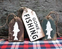 FREE SHIP Gone Fishing Wood Tags Rustic Distressed Cabin Sign Set