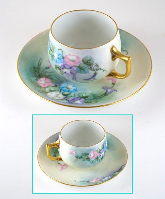 Vintage Morning Glories Tea Cup and Saucer, Hand Painted, Gold Trim ...