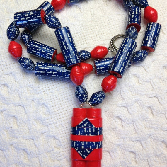 Red White Blue Hand-rolled Paper Beads created for all