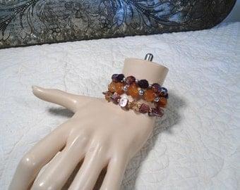 Stacked Bracelet Set Elastic Stacking Bracelets Plastic Beads Hippie Jewelry Purple Beads