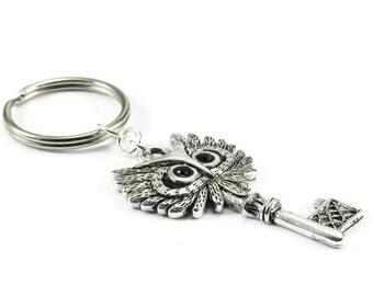 Owl Key KeyChain Silver Metal Keyring